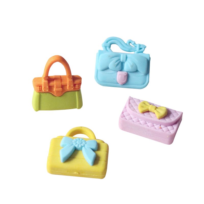 4pcs/lot Cute Eraser 3D Simulation Mini Ladies Handbag Eraser Funny Student Fashion Gift Kids's Toy Stationery