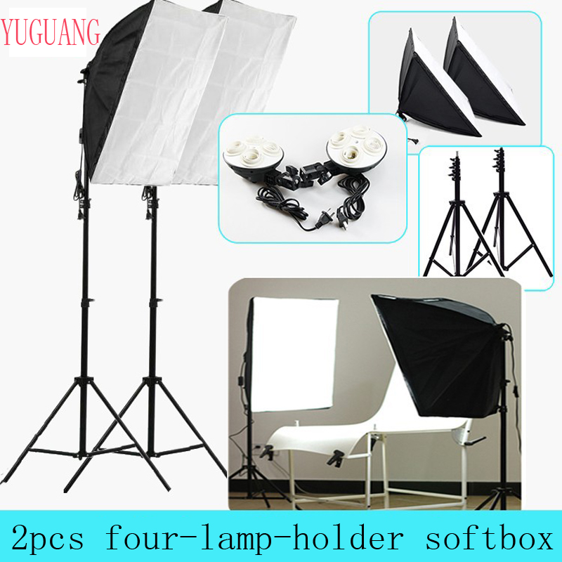 Photo Studio 50 * 70cm Softbox Berterusan Berlampu 4 dalam 1 E27 Socket Light Lamp Holder dengan 2Pcs light Stand Photography Kit