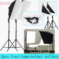 Photo Studio 50*70cm Softbox Continuous Lighting 4 in 1 E27 Socket Light Lamp Holder with 2Pcs light Stand Photography Kit