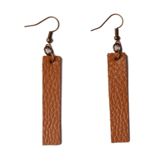 46bfd5ed9 Rainbery New Long Genuine Leather Earrings Antique Looking Various  MultiColors Pendants Leather Bohemia Dangle Drop Earrings