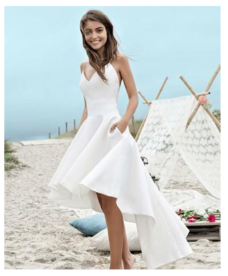 Spaghetti Strap Beach Wedding Dresses 2019 LORIE Vestido Noiva Praia High Low White Satin Casamento Bridal Gowns Custom Made