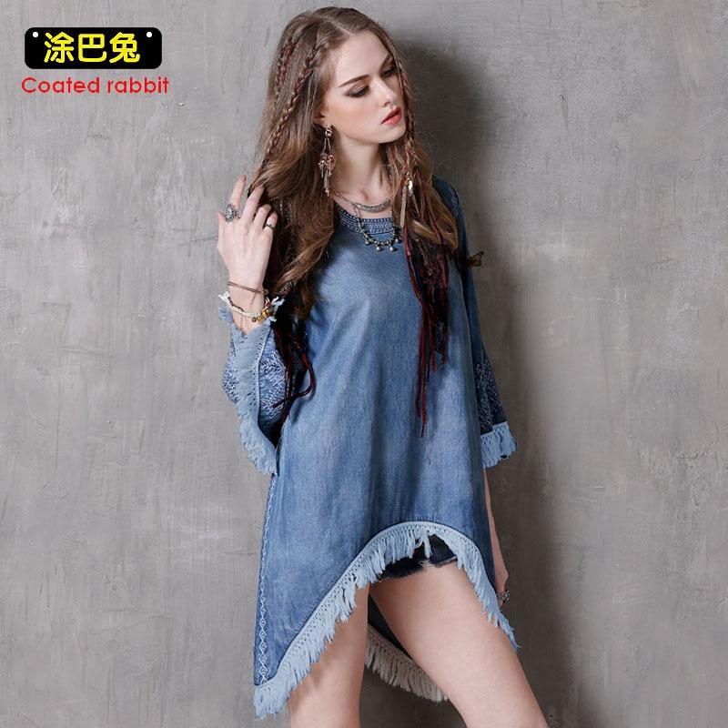 2018 Spring New Women Tassel Denim Dress Vintage Embroidery Loose Mini T Shirt Dress Women Casual