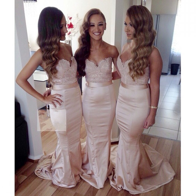 2017 mermaid bridesmaid dresses sweetheart satin with lace for Maid of honor wedding dresses