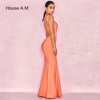 Orange Dresses Open Back Fishtail Dress Hollow Out Off Shoulder Floor Length Glitter Maxi Sleeveless Wedding Party Bodycon Dress
