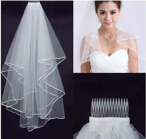 Wedding Veils Wedding Bridal Veil white two layer lace flowing wedding accessories wholesale wedding veils bridal accesories lac