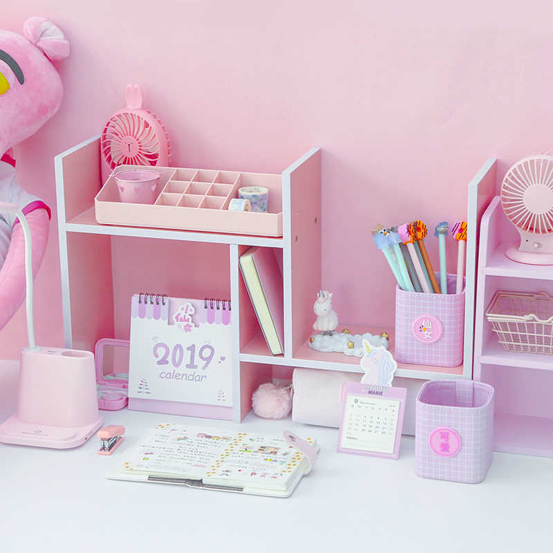 Pink wood filing products file tray magazine DIY organizer desk accessories organizer desk set