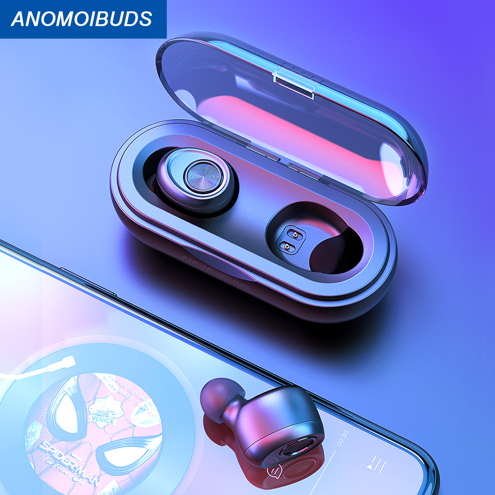 Bluetooth Earbuds TWS Wireless Earphone V5.0 Bass Stereo Sound Sport Anomoibuds Capsule Earphone For Samsung Xiaomi Iphone