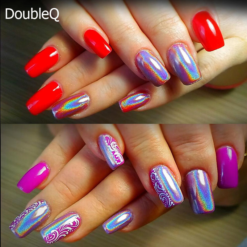 Extra Fine Holographic Chrome Nail Art Powder: Aliexpress.com : Buy 1Box Laser Silver Holographic Nail