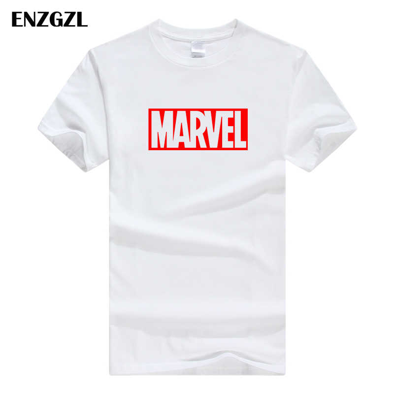 ENZGZL clothes summer T Shirts Mens MARVEL 100% COTTON Short sleeve Tshirt Tight Male T-shirt Round Neck XS S M L XL streetwear