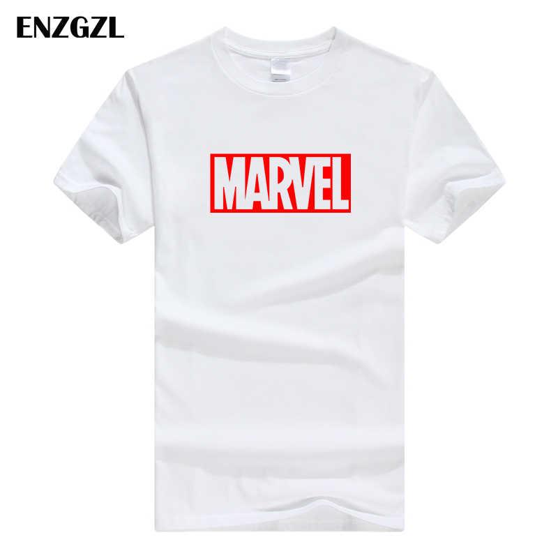 ENZGZL ubrania letnie koszulki z krótkim rękawem mężczyzna MARVEL 100% bawełniana koszulka z krótkim rękawem mocno męskie T-shirt z okrągłym dekoltem XS S M L XL streetwear
