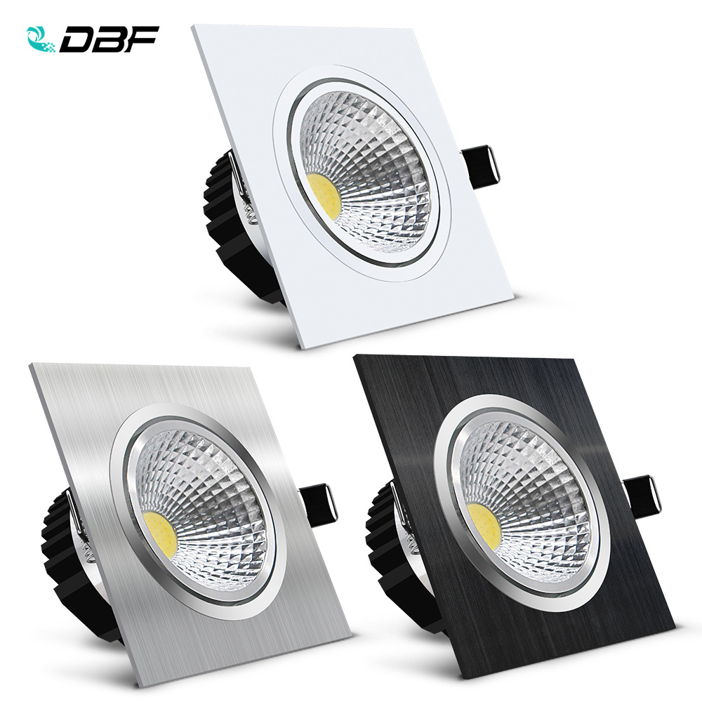 [DBF]Black/White/Silver Square Recessed LED Dimmable Downlight COB 7W 9W 12W 15W LED Ceiling Spot Lamp With AC 110V 220V