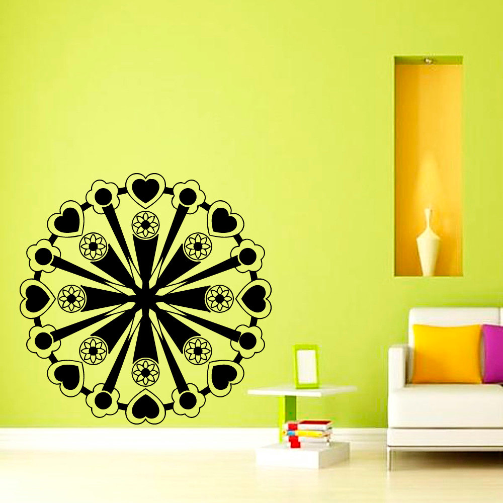 Hearts And Flowers Mandala Pattern Indian Wall Sticker Living Room Vinyl Self Adhesive Yoga Home Decor Art Murals
