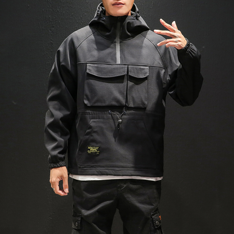 2020 Workwear Jacket Men's Pilot Hooded Jacket Spring And Autumn Baseball Uniform Tide Card Loose Pullover Front Pocket Coat Mal