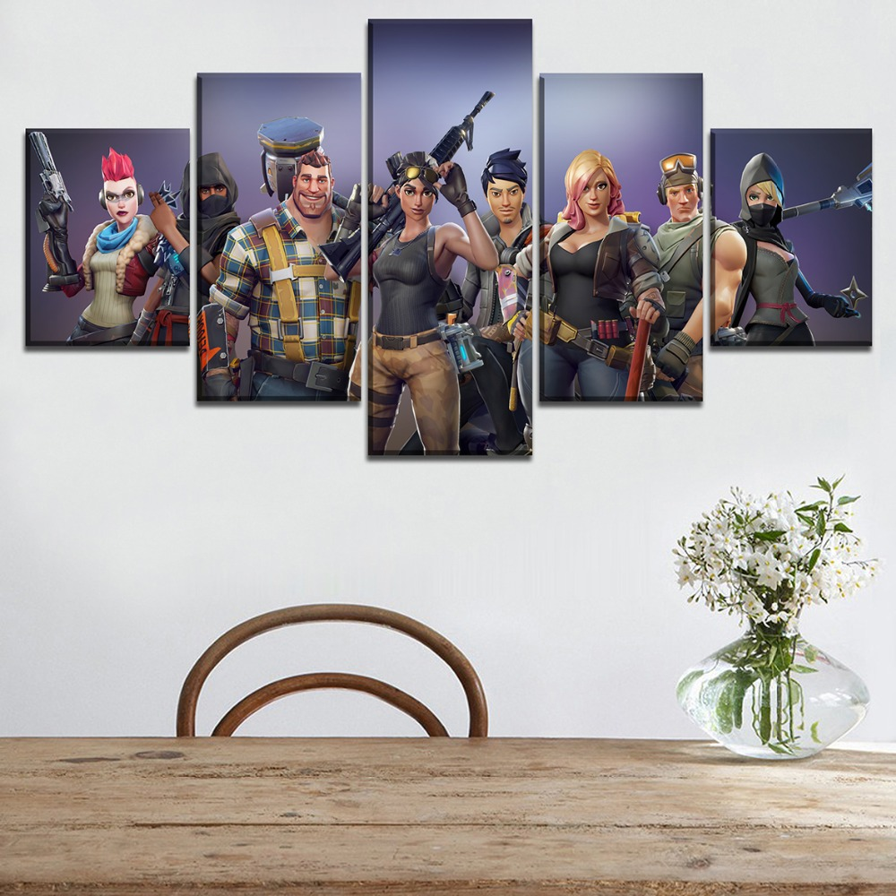 Canvas Printed Pictures Home Decorative Wall Art Framework 5 Pieces Game Fortnite Role Painting Modular Poster For Living Room 1