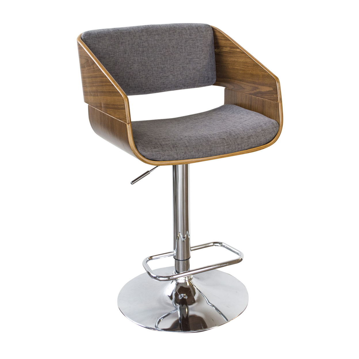 AmeriHome Bent Wood Charcoal Fabric Bar Stool ...