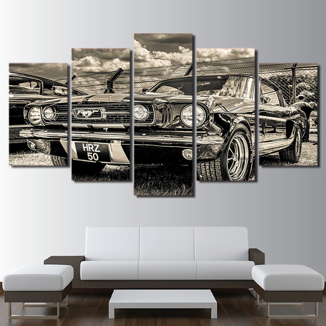 Modular Hd Print Artwork Modern Sports Car Poster Home Wall Art 5 Pieces Pictures 1965 Ford Mustang Canvas Painting