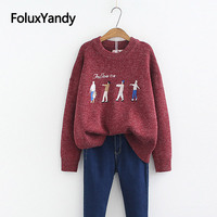 Cartoon Embroidery Sweater Plus Size XXXL 4XL Women Casual O neck Loose Korean Style Sweaters Pullovers SWM1275