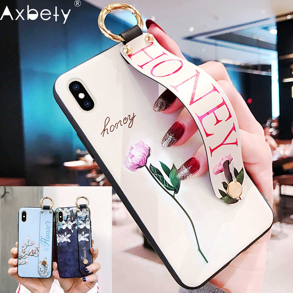 Axbety untuk iPhone 8 7 Plus XR X XS Max Fashion Bunga Lanyard Loop Stand Phone Case untuk iPhone 8 6 6S Plus Lembut TPU Cover Coque