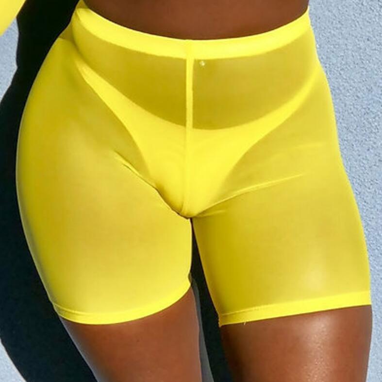 2019 Summer Fashion Yellow Mesh Transaparent Sexy Women Casual Shorts Ladies High Waist Shorts Summer Shorts Sexy Shorts