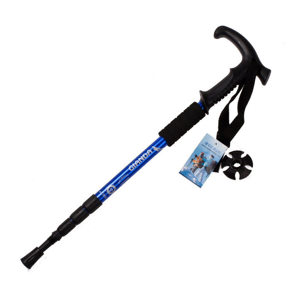 1Pcs Walking stick Hiking Walking Trekking Trail Poles Ultralight 4-section Adjustable Canes Protector, aluminum alloy Rod цена 2017