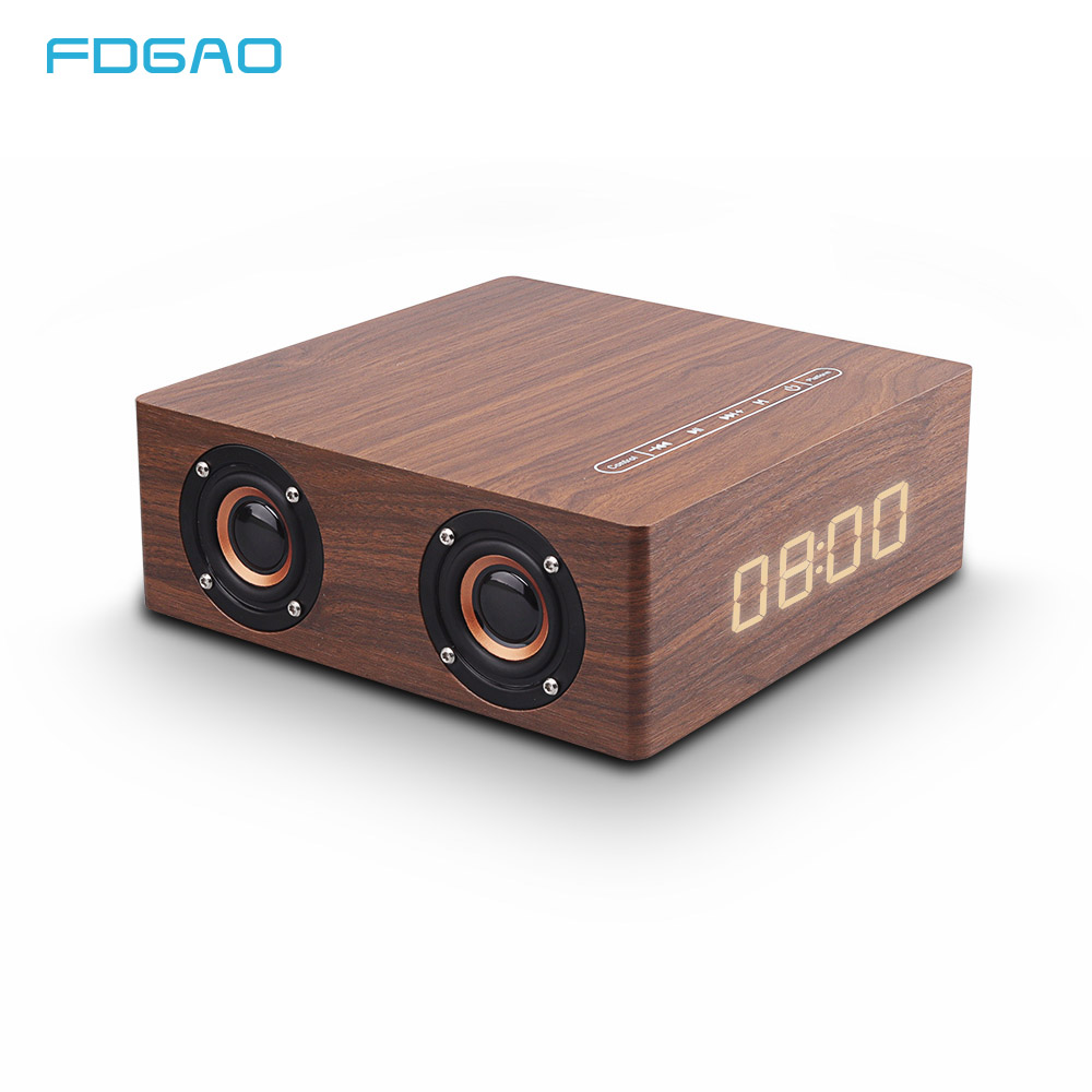 Wooden Wireless Bluetooth Speaker Solid Wood HiFi Subwoofer Sound of Nature Stereo with Clock Alarm Support AUX TF Card U Disk