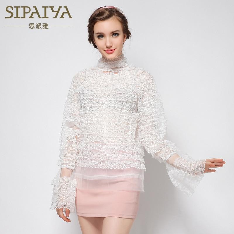 SIPAIYA 2017 Lace Peplum Blouse Top Selling New Retro Court Princess trumpet Sleeve Shirt White Lace Blouse Long Sleeve Blusa