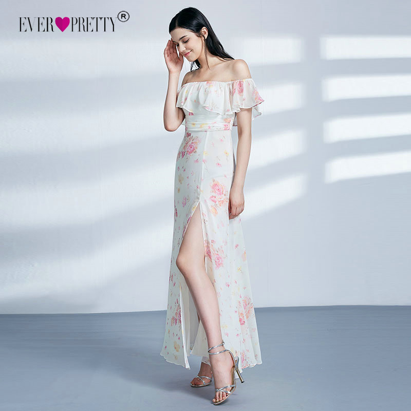 Ever Pretty Elegant   Bridesmaid     Dresses   A-line Off Shoulder Leg Slit Sexy Robe Longue EP07382 Wedding Guest Party   Dresses