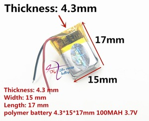 Image 1 - Beste batterie marke 3,7 V polymer lithium batterie 431517 MP3 smart watch 100 mAH Bluetooth headset
