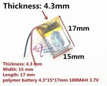 En iyi pil marka 3.7 V polimer lityum pil 431517 MP3 smart watch 100 mAH bluetooth kulaklık