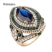 Bulgaria Jewelry Luxury Big Gold Wedding Rings For Women Vintage Green Crystal Blue Stone Ring Fashion Boho Accessories(China)