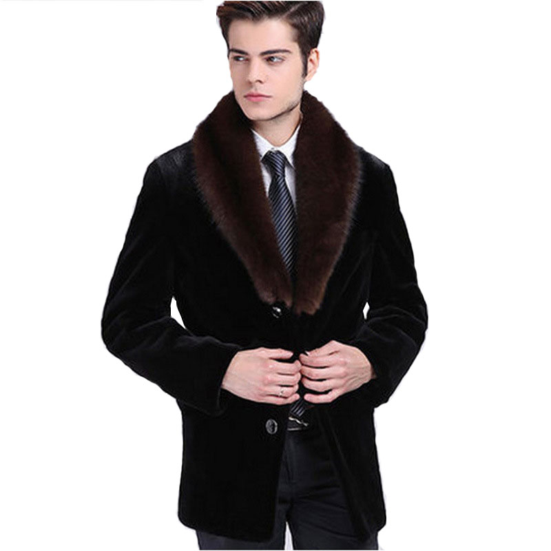 2018 New Mens Suede Coat Mens Full-blown Mens Water jacket Mens Fur Business Imitation F ...
