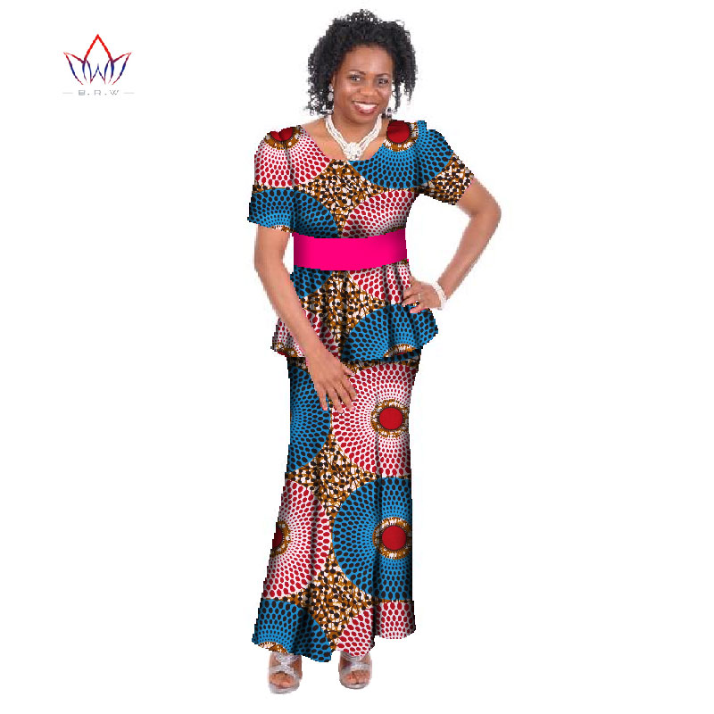 African Bazin Women short sleeve Two Piece suit Plus Size Africa Women  Clothing o-neck Dashiki Brand Skirt Set Cotton 6xl WY412 2af38a581407