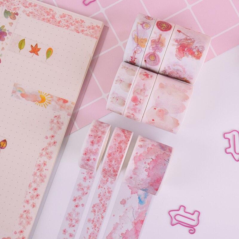 3Pcs/Box New Pink Cherry Blossoms Plant Washi Tape DIY Decoration Scrapbooking Planner Masking Tape Adhesive Tape Label Sticker
