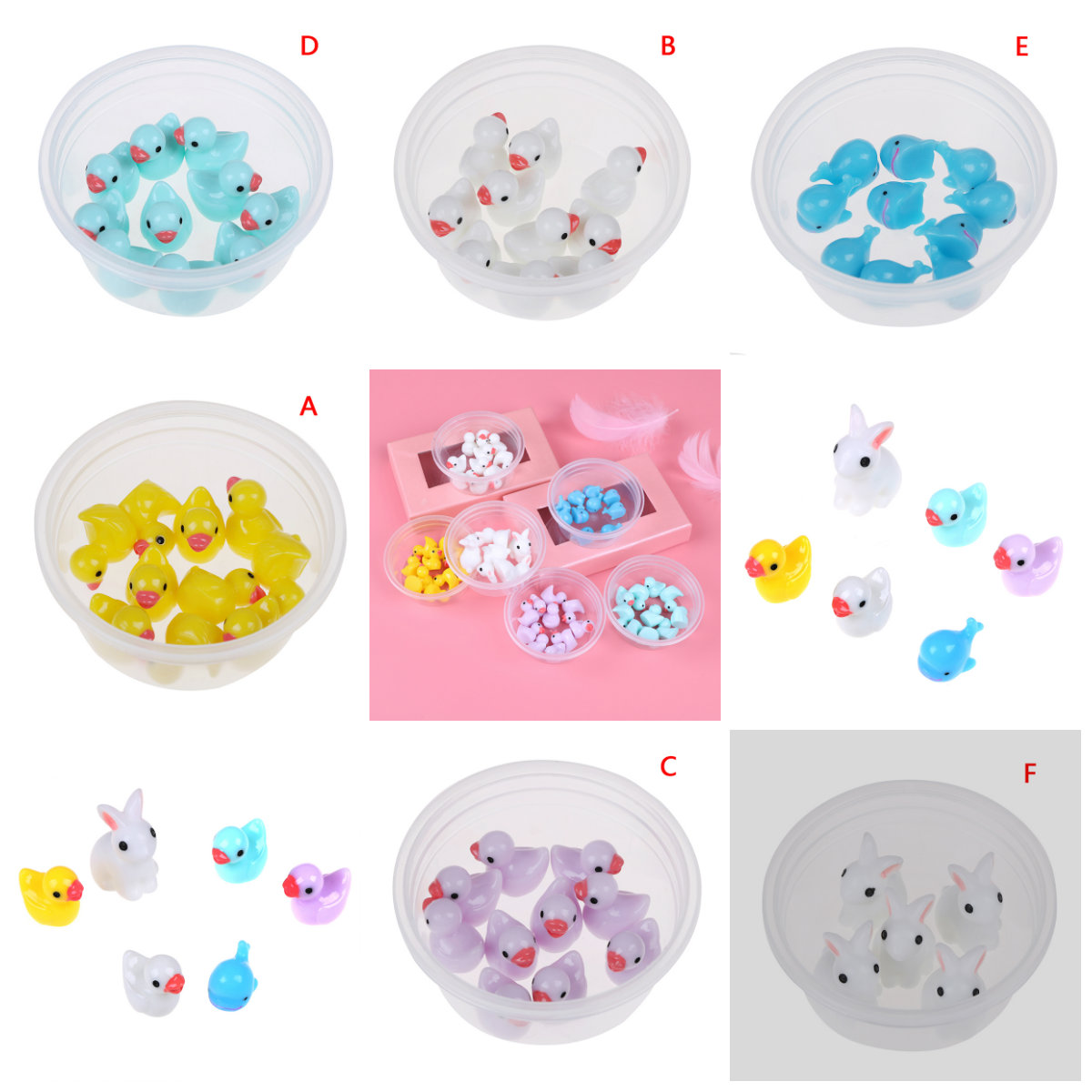 Fluffy Clear <font><b>Slime</b></font> DIY Toy Mini <font><b>Duck</b></font> Rabbit Fairy Garden Home Plants Decor Resin Crafts Miniature Dollhouse 5 Or 10pcs Per Bag image