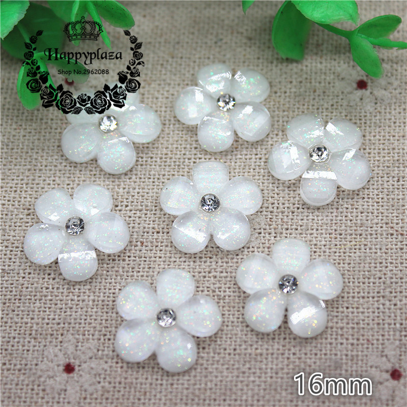 30pcs 16mm Shiny Rhinestone Glitter White Five-Petal Flowers Resin Flatback Cabochon DIY Jewelry/Phone Decoration