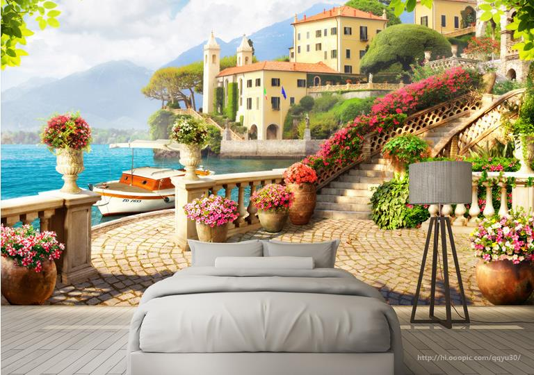 Customized 3D Wall Mural Wallpaper Garden terrace lake scenery Wallpapers For Living Room Background Wall papers Home Decor customized 3d ceiling wallpaper mural blue sky and white clouds bedroom 3d ceiling living room wall papers home decor 3d modern