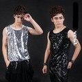 Мода мужская тонкий блестками рукавов основная рубашка ночной клуб певец DJ DS жилет костюм оборудование показать этап одежда