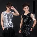 Moda masculina magro lantejoulas mangas camisa básica boate macho cantor DJ DS colete equipamento traje Show desgaste estágio