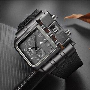 Image 2 - OULM Brand Original Unique Design Square Men Wristwatch Wide Big Dial Casual Leather Strap Quartz Watch Male Sport Watches