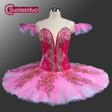 Princess Aurora Professional Ballet Tutu Peach Fairy Classical Costumes Sleeping Beauty Pink Pancake SD0042