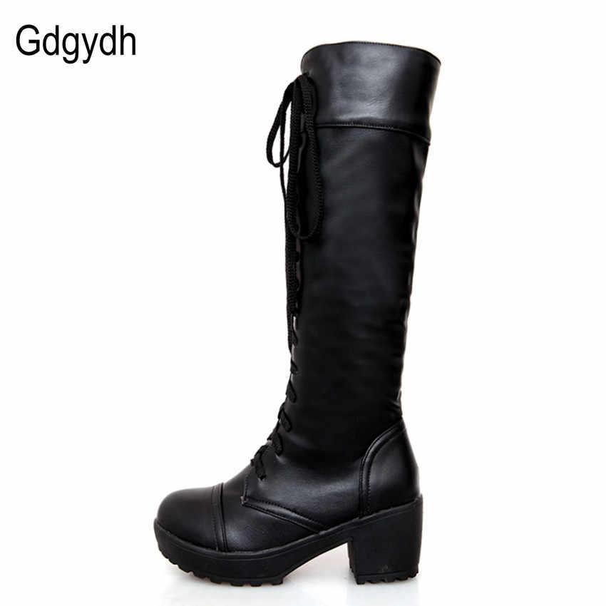 Gdgydh Büyük Boy 43 Lace Up Diz Yüksek Çizmeler Kadın Sonbahar Yumuşak Deri Moda Beyaz Kare Topuk Kadın Ayakkabı Kış sıcak Satış