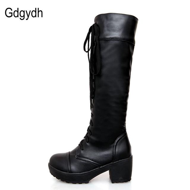 Gdgydh duży rozmiar 43 koronki up kolana wysokie buty kobiety jesień miękka skóra moda biały kwadrat pięty Woman Buty Zima gorąca sprzedaż