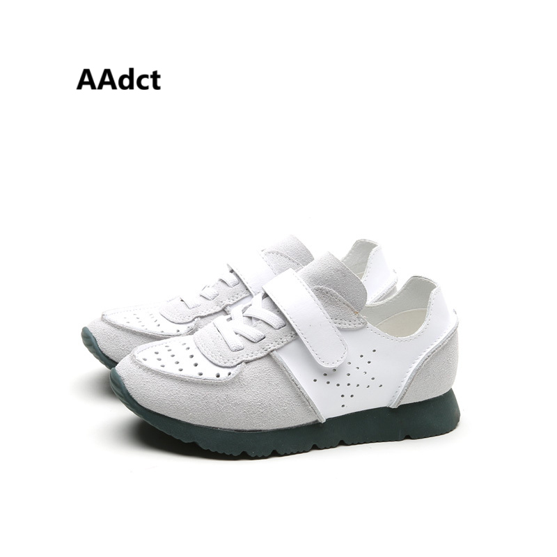 AAdct Genuine leather children shoes spring autumn new Girls Boys shoes hole breathing running sports kids shoes sneakers