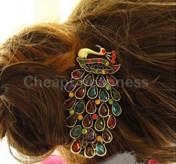 Hair Ornaments Barrette Donut Hair Style Crystal Peacock Hair Clips For Women Big Hairpins Hair Accessories