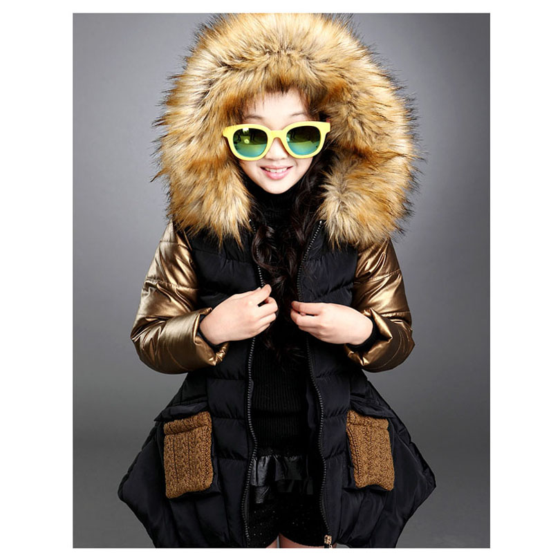 Fashion Girl Snow overcoats Princess Duck Down Fur Collar Girls Jacket Cotton Padded Clothes Winter Children Outerwear Coats children winter coats jacket baby boys warm outerwear thickening outdoors kids snow proof coat parkas cotton padded clothes
