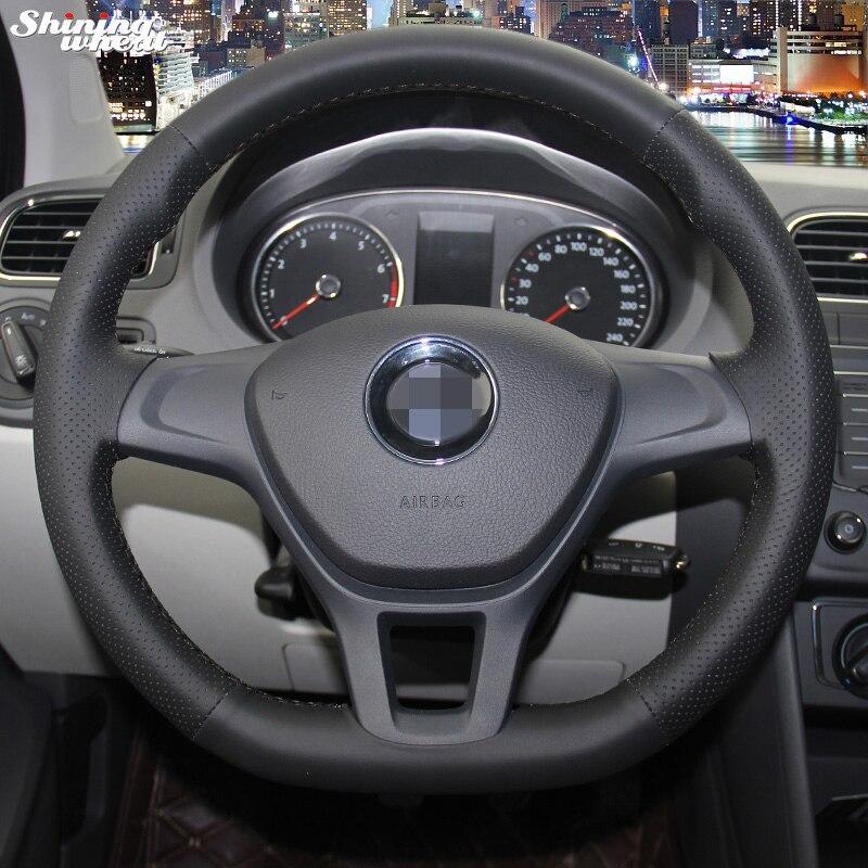 BANNIS cousu Main En Cuir Noir Volant pour Volkswagen VW Golf 7 Mk7 Nouveau Polo 2014 2015
