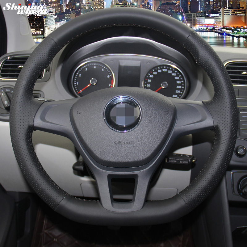Shining wheat Hand-stitched Black Leather Steering Wheel Cover for Volkswagen VW Golf 7 Mk7 New Polo 2014 2015
