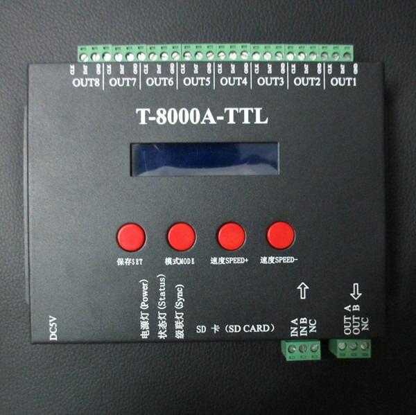 T8000A-TTL LED Contrôleur RVB Pour WS2812B WS2811 2812 WS2812 TM1804 LPD6803 RVB LED Contrôleur De Bande