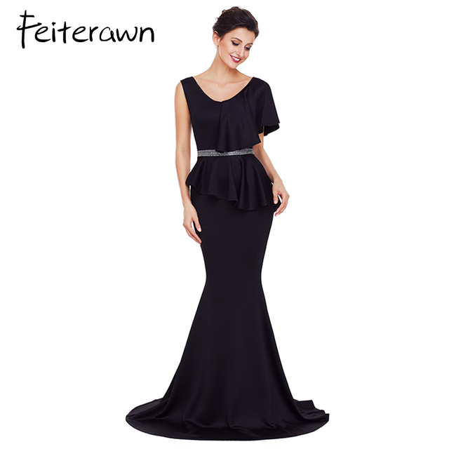 Feiterawn 2018 Elegant Gowns Long Dress Women Asymmetric Ruffle ...