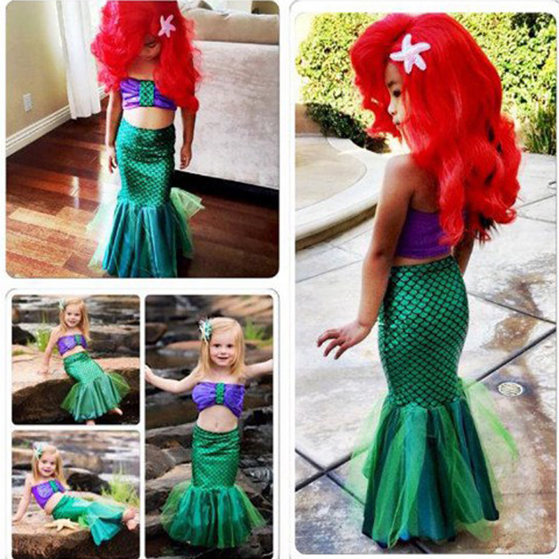 Kids Princess Ariel The Little Mermaid Costume Girls Children Mermaid Tail Swimsuit Bikini Set Sexy Fancy Party Dress